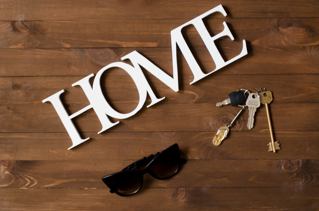 house comfortable wooden letters word glasses background keys accessory